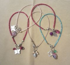 Glass Beaded Anklet w/ Silver Oval / Round Glass by Pizzelwaddels, $16.97