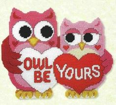 Free: Owl be yours pattern in plastic canvas - Needlepoint Plastic Canvas Ornaments, Plastic Canvas Christmas, Plastic Art, Plastic Canvas Crafts, Plastic Canvas Patterns, Cross Stitch Owl, Cross Stitching, Cross Stitch Patterns, Owl Patterns