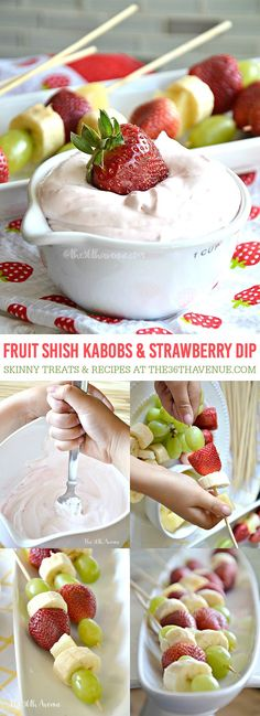 Fruit Shish Kabobs and Skinny Strawberry Dip Recipe. Pin it now and make it later.