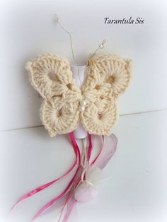 Baptism favor and invitation. Baptism Decorations, Crochet Butterfly, Baptism Favors, Favours, Christening, Butterflies, Crochet Earrings, Crochet Patterns, Invitations