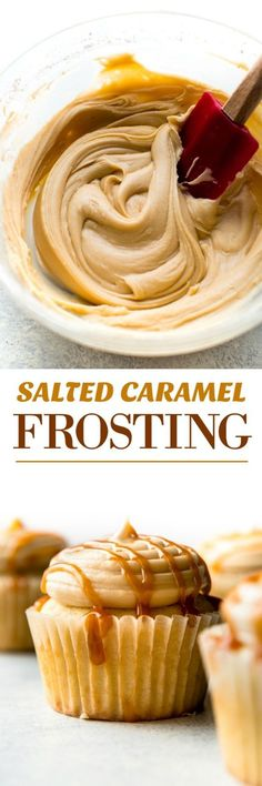 & Improved Salted Caramel Frosting + Video 5 ingredients and so easy! This creamy salted caramel frosting is downright addicting! Recipe on 5 ingredients and so easy! This creamy salted caramel frosting is downright addicting! Recipe on Cupcake Recipes, Cupcake Cakes, Dessert Recipes, Bundt Cakes, Muffin Cupcake, Just Desserts, Delicious Desserts, Salted Caramel Frosting, Salted Caramels