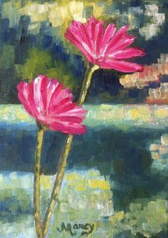 """Pink Water Lily - End of Day by Marcy Brennan  Oil on 5"""" x 7"""" canvas panel - $100"""