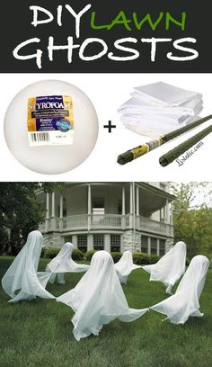 Kids Lawn Ghost Party craft decoration idea