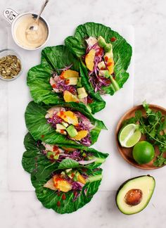 Collard Wrap Tacos with Citrus Slaw - healthier fish tacos made with collard green wraps (vegan options). Raw Vegan, Vegan Vegetarian, Vegetarian Recipes, Healthy Recipes, Collard Green Wraps, Collard Greens Recipe, Healthy Fish Tacos, Vegan Tacos, Clean Eating