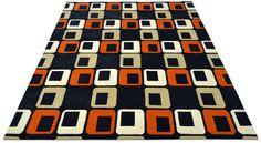 "A custom hand tufted pure wool rug in ivory white, black, ecru and dark burnt orange. It has a pile depth of 12-14mm. Created using the ""Chorizo"" design. #CustomRugRoom"