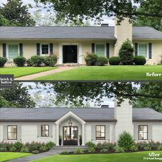 Shutters are a pretty hot topic around here at brick&batten. Just to sum it up, we are big fans of shutters when they are done right. But in all honesty, some homes look better without shutters, and a poor shutter choice can make a home look like an eye sore. While getting personalized design advice from a professional exterior designer is usually the best way to go, there are a few shutter styles that work on (almost) any home.  From flat panel to board and batten, see what works  on your home! House Without Shutters, House Shutters, Homes With Shutters, Exterior Shutters, Ranch Exterior, Exterior Remodel, Painted Brick Ranch, Painted Brick Houses, Paint Brick
