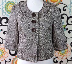Ann Taylor Women Brown White Floral Cape Jacket Size 2 #AnnTaylor #Cape