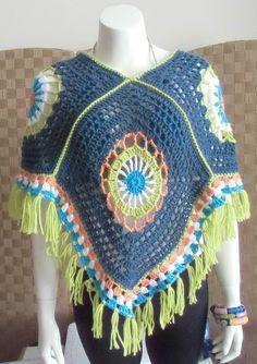 Hey, I found this really awesome Etsy listing at https://www.etsy.com/listing/223911883/crochet-poncho-granny-square-all-season