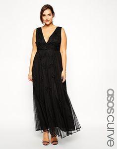 ASOS CURVE Exclusive Deep V Maxi Dress With Embellishment da7b71d0167