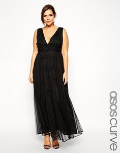 Enlarge ASOS CURVE Exclusive Deep V Maxi Dress With Embellishment