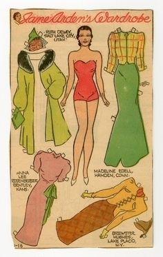 Jane Arden's Wardrobe   Paper Doll