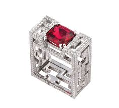 Dickson Yewn ring with a Mozambican ruby and of diamonds. Michelle Obama wore a similar ring set with jade that brought Dickson Yewn's name to a wider audience. Ruby Jewelry, I Love Jewelry, Jewelry Art, Jewelry Rings, Fine Jewelry, Women Jewelry, Jewelry Design, Fashion Jewelry, Jewelry 2014
