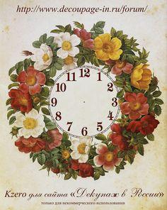Face clocks Decoupage Vintage, Vintage Art, Chinoiserie, Dollhouse Miniatures, Floral Wreath, Fun Crafts, Clock Faces, Prints, Flower Clips