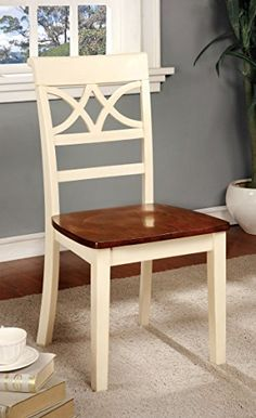 Buy Furniture of America Cherrine Country Style Dining Chair, Oak/Vintage White, Set of 2 - Topvintagestyle.com ✓ FREE DELIVERY possible on eligible purchases