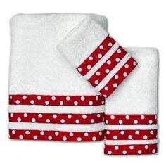 Cute towel idea Dots Cotton Towel Set, Red: set that can be DIY… Bathroom Towels, Kitchen Towels, Small Sewing Projects, Sewing Crafts, Cotton Towels, Hand Towels, Tea Towels, Dish Towel Crafts, Red Bathroom Accessories