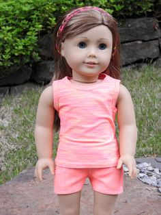 American Girl Doll® Handmade Neon Pink Shorts and Tank Top