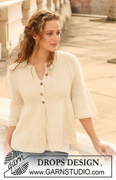 "Ravelry: 112-8 Knitted jacket with rib and raglan sleeve in ""Alpaca"" and ""Kid-Silk"" free pattern by DROPS design"