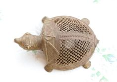 This antique Turtle is beautifully and naturally aged, all oxidized by time with some original patina. Of brass, roughly 3.5 long.  For more vintage