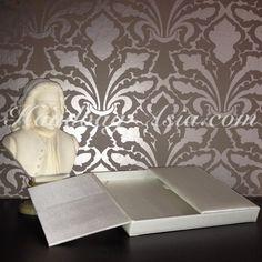 Padded Ivory Silk Gate Fold Wedding Invitation Box