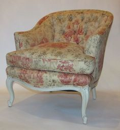 Antique Painted French Bergere Chair covered in Cotton Toile