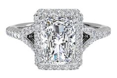 Radiant Cut Diamond Halo French-Set 'V' Band Engagement Ring with Surprise Diamonds in 14kt White Gold
