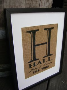 Burlap Personalized Wedding Print Shower Gift by KPATTONDESIGNS, $15.00