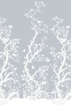 """""""Birdbranch"""" hand-printed wallpaper panels.  Noted for surreal and provocative textiles and wallpapers, the design studio, Timorous Beasties, was founded in Glasgow in 1990 by Alistair McAuley and Paul Simmons, who met studying textile design at Glasgow School of Art."""