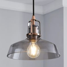 This simple Suva pendant fitting is complete with a contemporary smoked glass dome and copper fixing. Metal Ceiling, Glass Ceiling, Led Ceiling Lights, Room Lights, Flush Lighting, Pendant Lighting, Light Pendant, Kitchen Lighting, Vintage Light Bulbs