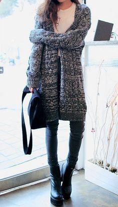 #fall #fashion / Oversized Knit Sweater Coat
