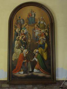 """Alsace, Bas-Rhin, Wolxheim, Chapelle Saint-Denis, Tableau de Caroline Sorg """"Quatorze saints auxiliaires"""" (1886)"""