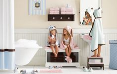 Love this adorable pink & blue kids bathroom by restoration hardware