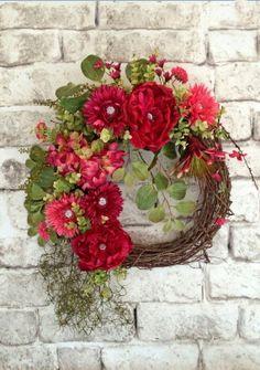 Pink Silk Floral Wreath, Spring Wreath, Summer Wreath, Front Door Wreath, Grapevine Wreath, Outdoor Wreath, Beautiful Wreath, Wreath with Jewels, Wreath on Etsy, by Adorabella Wreaths!