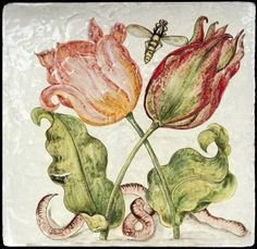 """Two tulips and some insects as studied by Joris Hoefnagel, whose day is today. Peter Paul Rubens, Tile Art, Tiles, Flower Art, Art Flowers, Illuminated Manuscript, Botanical Prints, Pansies, Watercolor Flowers"