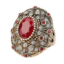 Fashion Vintage Jewelry Rings Unique plated Ancient Gold Mosaic AAA Crystal Big Oval Ruby Ring For Women 2016 New Anillo(China (Mainland))
