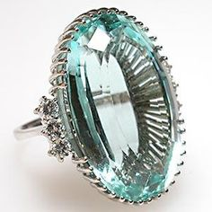 Vintage Natural Aquamarine & Diamond Ring Solid 18K White Gold