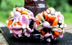 Flower Picking Handmade Lampwork Glass Floral Bead Set by TLBeads, $17.00