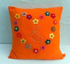Heart of flowers handmade cushion Unique Gifts, Handmade Gifts, Orange Cushions, All Kinds Of Everything, Handmade Cushions, Fiber, Projects To Try, Quilting, Sew