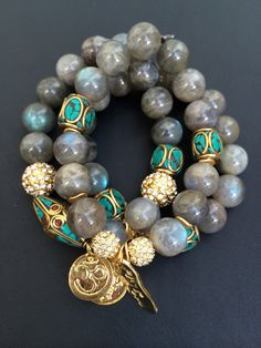 3 bracelet stack with agate beads pave by addieandisaacjewelry