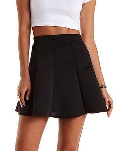 Paneled Scuba Knit Skater Skirt: Charlotte Russe #skaterskirt #musthave #basics