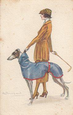 Lady and greyhound Greyhound Art, Italian Greyhound, Art Deco Illustration, Illustrations, Art Vintage, Vintage Posters, Art Nouveau, Dog Enrichment, Estilo Art Deco
