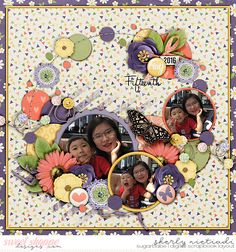 June 2016 SSD Bingo Challenge: Scrap with purple Trio pack 25 - Circle crazy 3 template by Cindy Schneider Life 2016 - May by Melissa Bennett