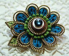 Felt and zipper  flower brooch deep turquoise