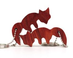 Matched Foxes Key Chains Wood Fox Keychain by OohLookItsARabbit