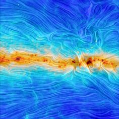 The European Space Agency reports that this image, captured by the Planck spacecraft, is among the first to reveal the shape of the Milky Way's magnetic field. The colors show temperature, with dark red the hottest and dark blue the coldest. And the relief lines reveal the shape of the vast magnetic field that envelops our galaxy and protects us from some of the high energy particles zooming through deep space.