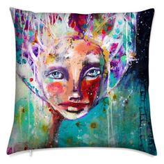 Colorful yoga mats and pillows printed from my mixed media art