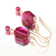 Vivacious Ruby Swarovski crystal Rose Gold Filled earrings, July Birthstone