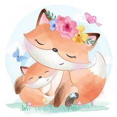 cute little foxy with flower, Watercolor, Birthday, Baby PNG and Vector Cute Animal Illustration, Cute Animal Drawings, Watercolor Illustration, Cute Drawings, Watercolor Animals, Watercolor Flowers, Scrapbooking Image, Baby Animals, Cute Animals