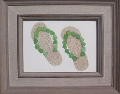 Real-Sea-Beach-Glass-Art-Nautical-Decor-Flip-Flops #seaglassart