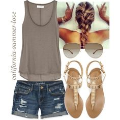 #summer #outfits / Grey Tank Top + Denim Shorts