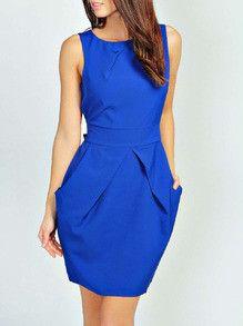 Blue Sleeveless Work Dress Pockets Zipper Dress